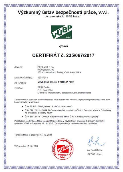 certifikát lešení PERI
